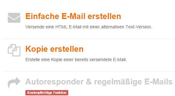 """Klicken Sie neben """"Einfache E-Mail erstellen"""" auf  """"Auswählen""""."""