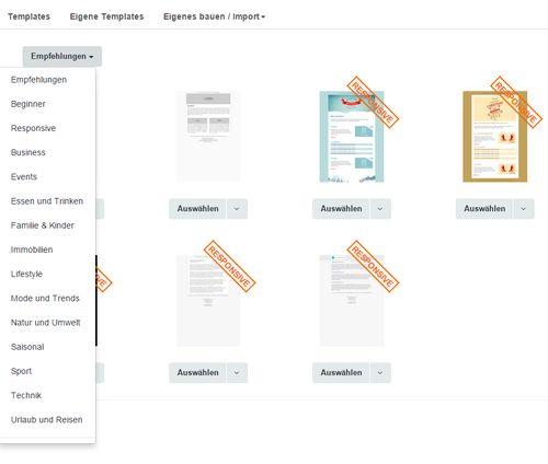 """Wählen Sie jetzt eine Design-Vorlage für Ihren Newsletter aus. Entscheiden Sie sich für eine Variante, die mit """"Responsive Design"""" gekennzeichnet ist."""