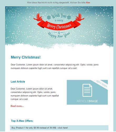 """Nach dem Klick auf """"Drag&Drop-Editor"""" sehen Sie eine Vorschau Ihrer Mail. Sie können Text- und Bildelemente einfach mit eigenen Inhalten füllen, indem Sie darauf klicken."""
