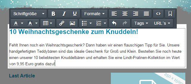 Per Editor passen Sie die Texte und Formatierungen nach Ihren Wünschen an. Auch Links können Sie natürlich in jedem Abschnitt frei einfügen.
