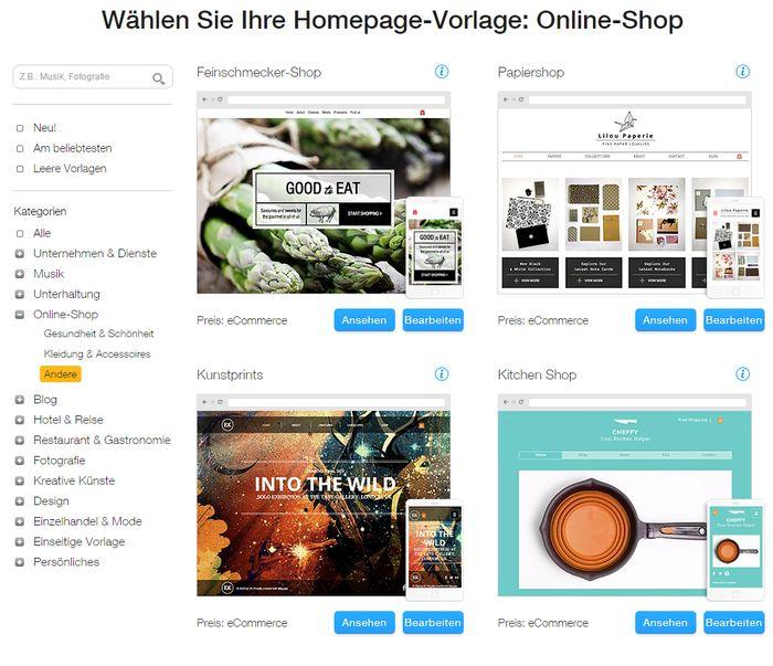 Wix bietet zwar nicht viele Design-Vorlagen für Online-Shops an, doch die die angeboten werden, wirken sehr edel.