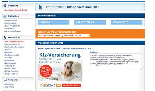 Um die Provision zu kassieren, klicken Sie einfach auf den Werbebanner im Tarifcheck24-Partnerprogramm.