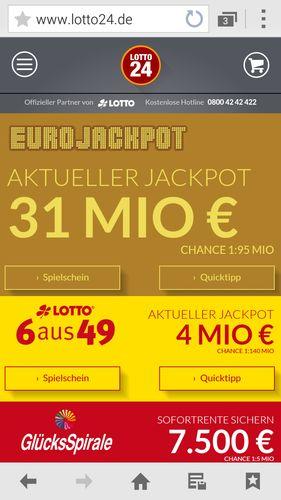 Der Lotto24 webshop passt sich einem kleinen Smartphone-Display automatisch an.