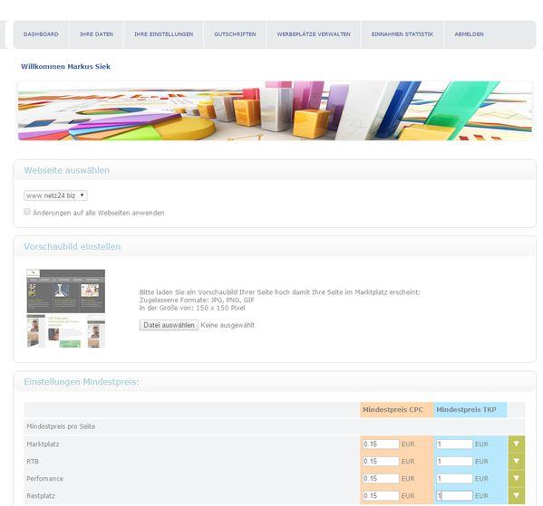 Sie können zu jeder angelegten Website Mindestpreise für den TKP und den CPC anlegen.
