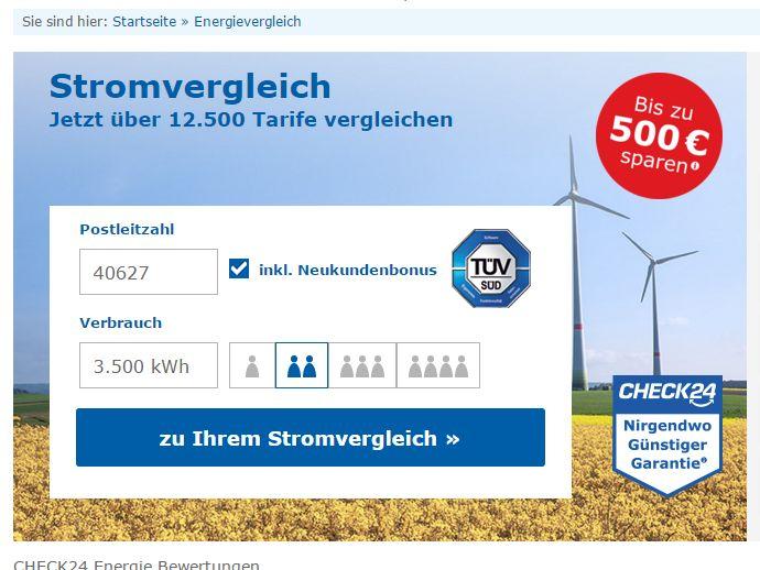 Der Strompreisvergleich von Check24