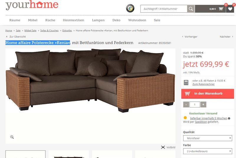 """Die Home affaire Polsterecke """"Kenia"""" kostet bei Yourhome 699 Euro."""