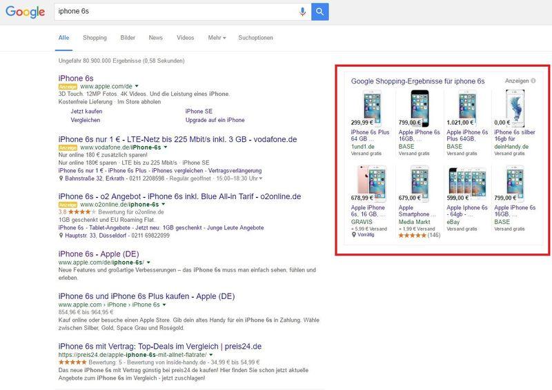 Rot umrandet sehen Sie die Produktanzeigen, die man mit Google Shopping Kampagnen buchen kann.