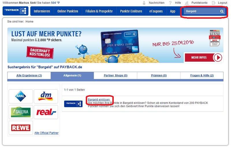 """Die Funktion """"Bargeld einlösen"""" findet man nur über die Suchfunktion auf der Payback-Website."""