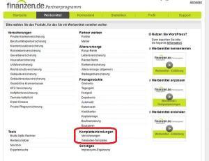 Website-Vorlagen von Finanzen.de